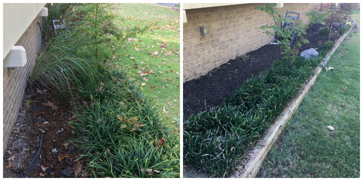Before & after flower bed clean up