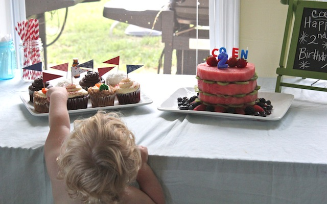 Cupcakes and watermelon cake are hard to wait for when you're only 2!