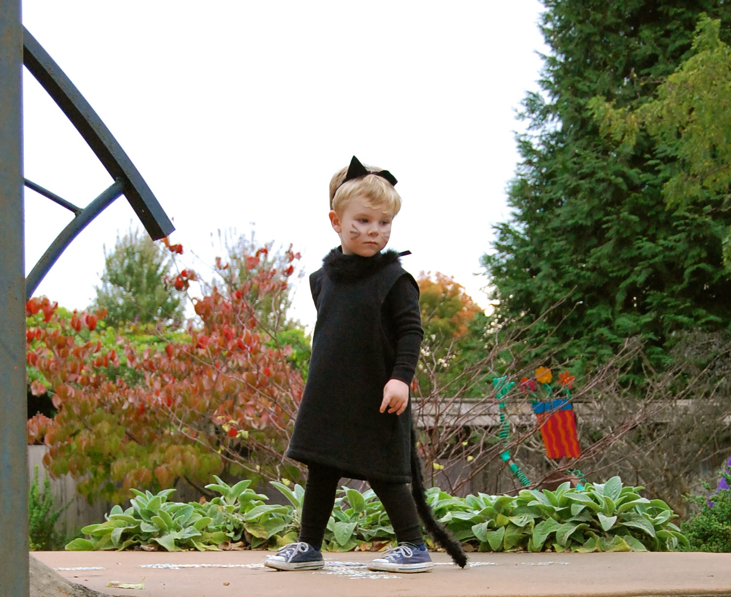 Need a last minute kids Halloween costume? This DIY cat costume is simple and cute!
