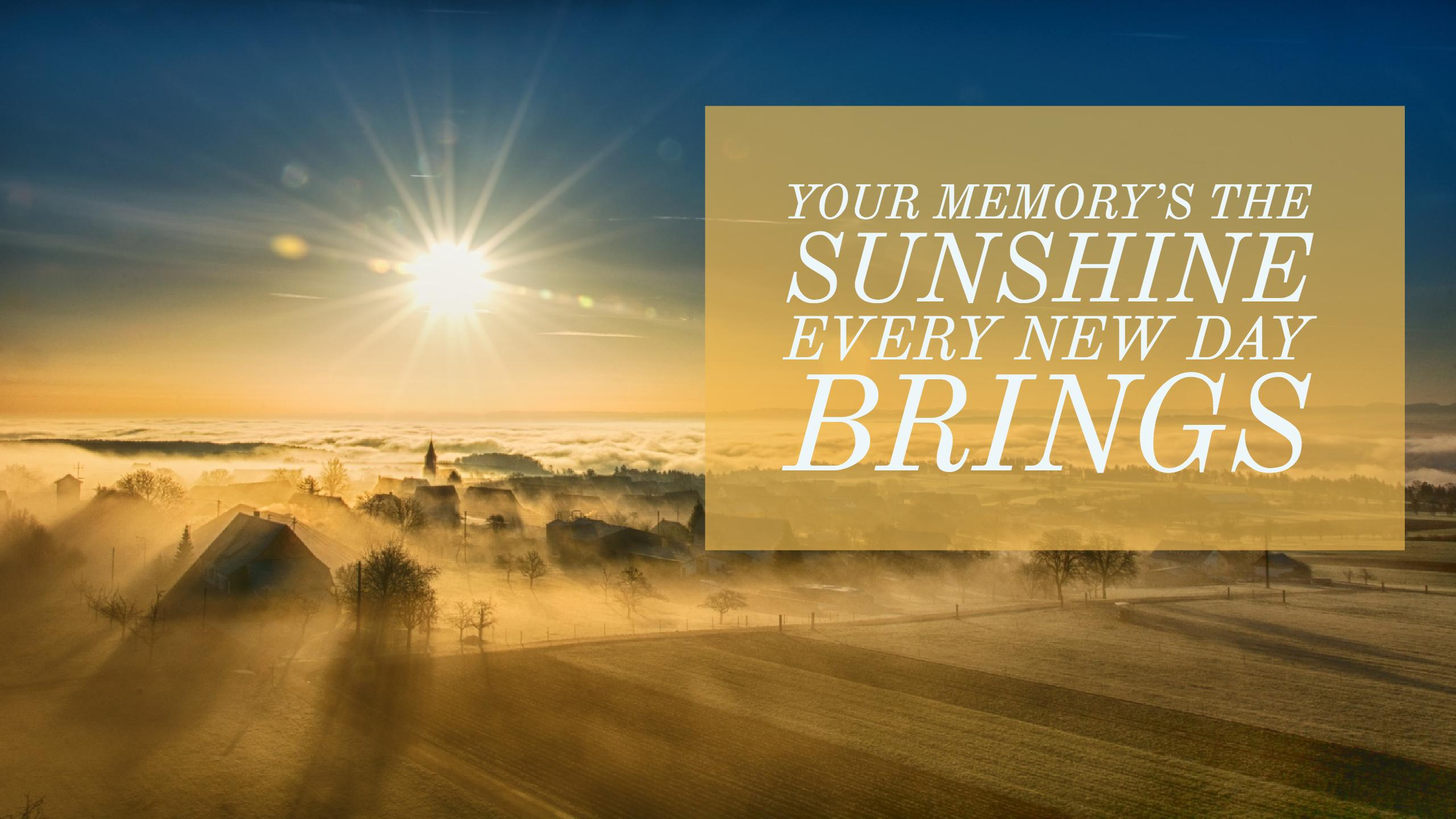 Your memory's the sunshine every new day brings